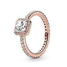 Pandora Jewelry Square Sparkle Halo Cubic Zirconia Ring in Pandora Rose, Size 9