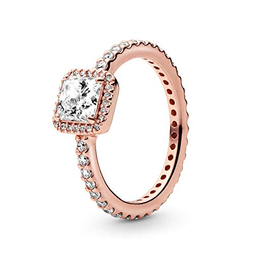 Pandora Jewelry - Square Sparkle Halo Ring for Women in Pandora Rose with Clear Cubic Zirconia, Size 6 US / 52 EURO