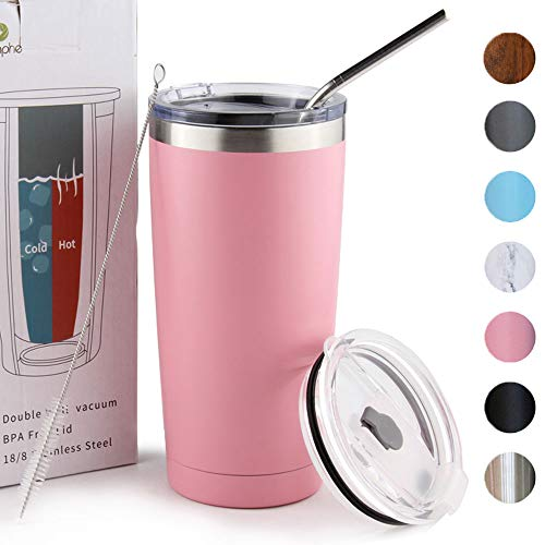 20oz Tumbler with Lid Insulated Double Wall Travel Mug Stainless Steel Durable Coffee Mug Power Coated Thermal Cup with Lids and Straw Dishwasher Safty
