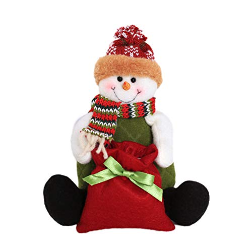 [Clearance Christmas Decorations ]-Christmas Santa Snowman Elk Candy Bag Pen Vase Container Party Table Doll Decor ()