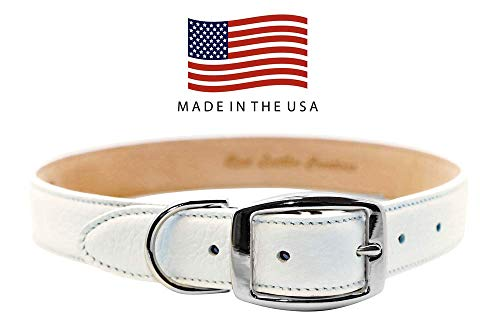 Real Leather Creations Dog Collar - White Genuine Colorado Leather - American Factory Direct - Various Sizes and Colors - Prime Quality - Made in USA Large FBA911 (Leather Dog White Harness)