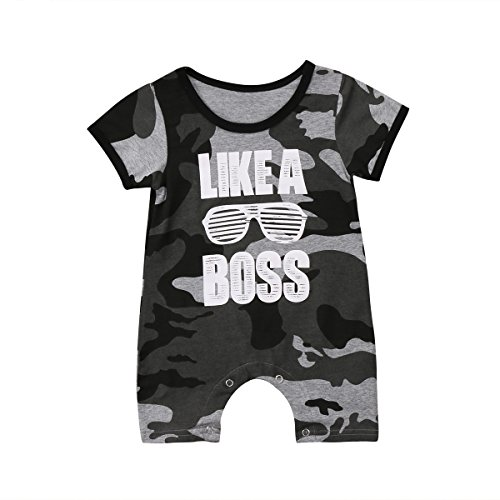 Enhill Funny Toddler Infant Newborn Baby Boys Camouflage Summer Romper Jumpsuit Short Sleeve Playsuit (Camouflage, 0-6 Months)