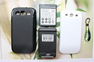 Samsung Galaxy S3 4300mAh Extended Battery + Cover - White + Extended TPU Case - Black + External Battery Charger w/ USB Output (Compatible with Samsung Galaxy S III GT-i9300, AT&T Samsung Galaxy S3 Samsung i747, Verizon Samsung Galaxy S3 Samsung i535, T-mobile Samsung Galaxy S3 Samsung T999, U.S. Cellular Samsung Galaxy S3 R530, and Sprint Samsung Galaxy S3 L710) + Exclusive Black And Green Color Key Chain Kit