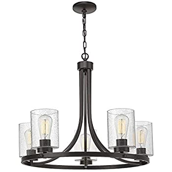 Image of 5-Light Wagon Wheel Chandelier, Beionxii 26' Farmhouse Contemporary Large Pendant Chandelier Lighting Fixture Oil Rubbed Bronze with Clear Seeded Glass Home Improvements