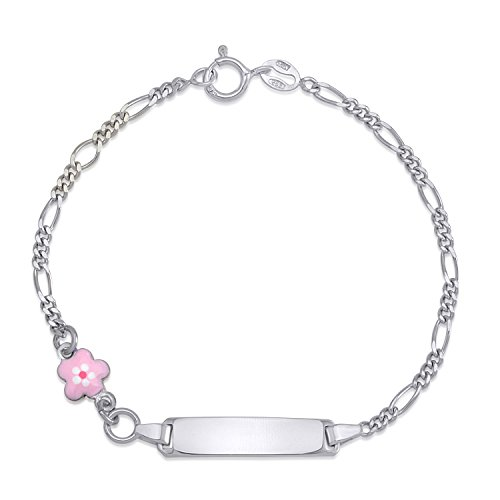 (UNICORNJ Childrens Sterling Silver 925 ID Bracelet Figaro Chain Cute Flower with Pink Enamel 6.5