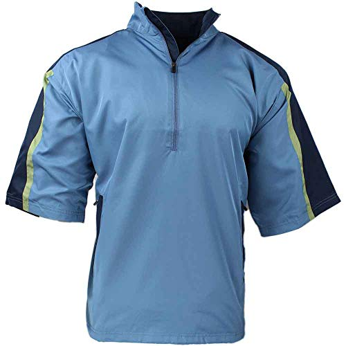 PAGE & TUTTLE Mens Short Sleeve Colorblock Windshirt Golf Casual Windbreaker Blue ()