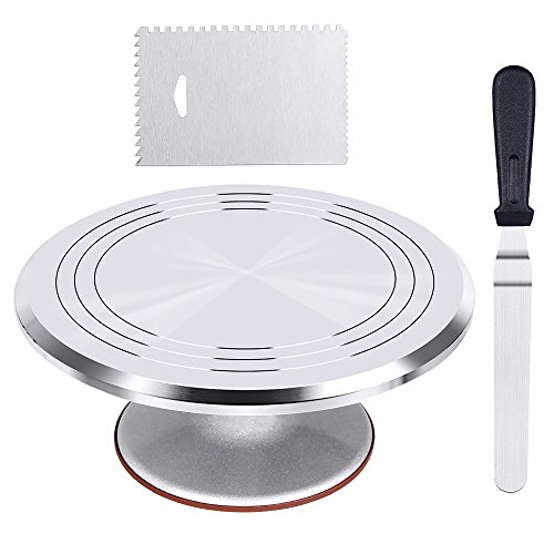 Kootek Aluminium Alloy Revolving Cake Stand 12 Inch Cake Turntable with 12.7'' Angled Icing Spatula and Comb Icing Smoother Baking Cake Decorating Supplies -