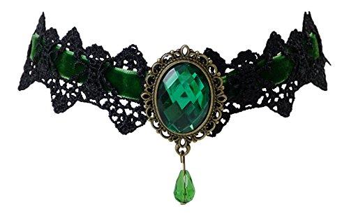 Trachtenschmuck Dirndl Kropfband Collier - Spitze schwarz - Samtband - Anhänger Kristall (Smaragd grün)