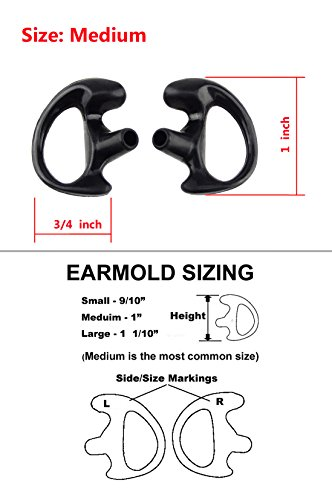 (Xfox® EM0801 Medium Silicone Earmold Earbud One Pair (Left/Right) for all Two-Way Walkie Talkie Radio Air Acoustic Coil Tube Earpiece Headphone Accessories Kits(Meduim, Black, 1 Pair))