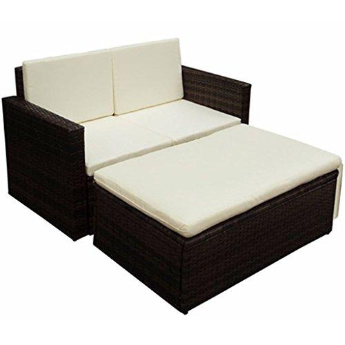 Saideke Home Garden Sofa Set Seven Pieces Poly Rattan Brown 2-seater Sofa (Rattan Furniture Two Garden Seater)