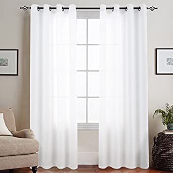 sheer white bedroom curtains. Sheer White Curtains For Bedroom Semi 84 Inches Long Grommet Top Casual Weave Textured Z