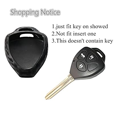 2Pack Silicone Carbon Fiber Pattern car Key case Cover Keychain for Smart Toyota Camry Highlander Prado Crown Land Cruiser Prius Vitz Accessories fob Shell Key Bag: Automotive