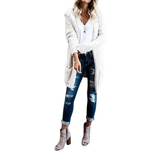 (Women Coat, Gillberry Women Lambswool Hoodie Knit Long Sleeve Cardigan Sweaters Outerwear Pocket (White, XL))