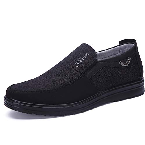 (COSIDRAM Men's Slip-On Loafer Casual Driving Shoes Breathable Canvas Comfortable Lightweight Great Travel Walking Shoes for Adult Male Black Grey Brown Plus Size)