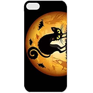 Apple iPhone 5C Cases Customized Gifts For Holidays Black Cat In The Moonlight Celebrations Holiday Black