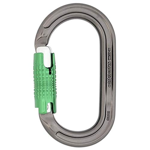 - DMM Oval Keylock LS Carabiner, Silver with Green Gate