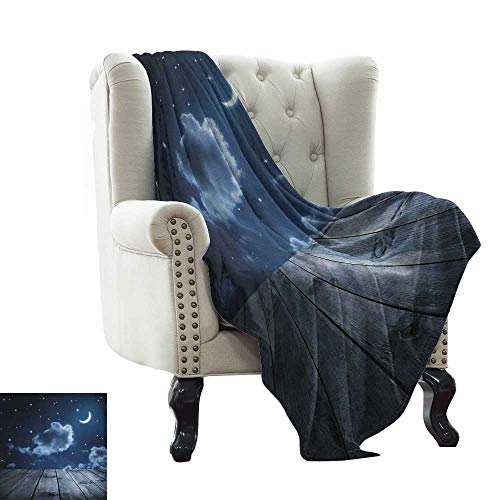 ,Super Soft Lightweight Blanket,Vivid Night Sky with Stars Clouds and Crescent Moon Wooden Planks Celestial 60