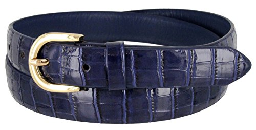 Womens Designer Belt (Women's Skinny Alligator Embossed Leather Casual Dress Belt with Buckle 7035 (Navy,)