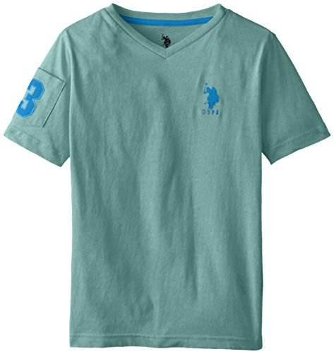 Association Dark T-shirt - U.S. Polo Assn. Big Boys' Solid V-Neck T-Shirt with Large Embroidered Logo, Block Green Heather, 10/12