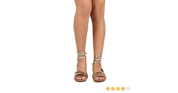 0310e6ea85 Amazon.com | Breckelle's Women Metallic Open Toe Strappy Slingback Wrap  Sandal EA53 - Champagne (Size: 7.0) | Sandals
