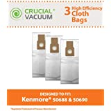 3 Kenmore 50688 50590 Allergen Cloth Vacuum Bags Designed To Also Fit Panasonic U-2, and Miele Upright Type Z vacuum cleaners; Compare to Kenmore Upright Part # 50688; Designed & Engineered By Crucial Vacuum