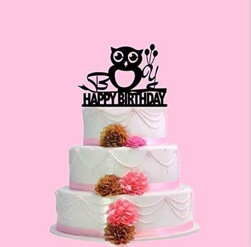 Amazon.com: Owl Cake Topper,Custom Baby Birthday Cake Topper ...