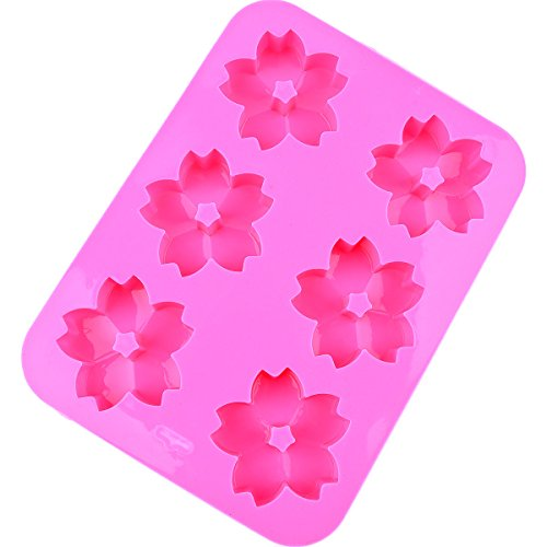 Chawoorim silicone molds baking trays - 6 Cherry Blossom Flowers Silicone Muffin Cups Handmade Soap Molds Biscuit Chocolate Ice Cake make soaps for Christmas gifts (6 Cherry - Floral Biscuit
