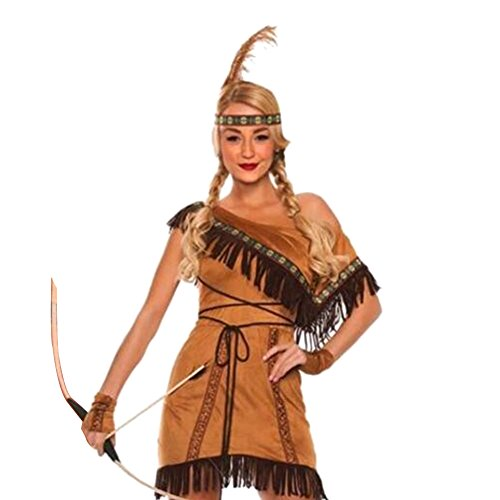 RoseSummer Native American Women's Indian Princess Costume Dress Halloween Cosplay