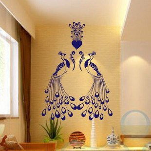 Charm Elegant Peacock Two Peacocks Decal Wall Stickers Vinyl Decor Living Room Bed Decals