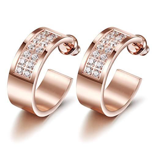 CIUNOFOR Rose Gold Hoop Earrings, Hypoal...