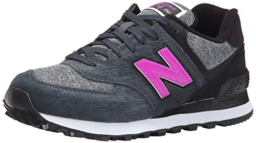 New Balance Women's WL574 Sweatshirt Pack Running Shoe, Black/Grey/Violet, 12 B US