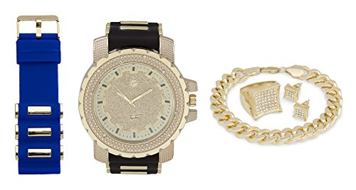 Techno Pave Iced Out Watch + Interchangeable Band + Cuban Bracelet + Iced Out Earrings & Ring [Gift Set] from Techno Pave