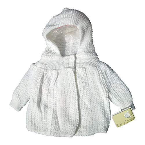 Baby Dove knited (Popcorn Style) Crocheted Sweater jacket with hood, 3-6 Months, White