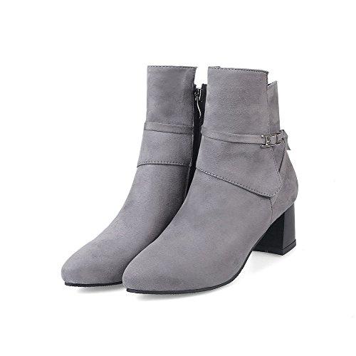 AllhqFashion Damen Rein PU Mittler Absatz Reißverschluss Quadratisch Zehe Stiefel, Grau, 35