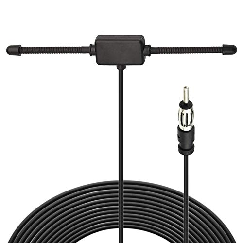 Bingfu Universal Car Stereo AM FM Dipole Antenna,Hidden Adhesive Mount AM FM Radio Antenna for Vehicle Car Truck SUV Radio Stereo Head Unit Receiver Tuner,10 feet Cable Motorola DIN Plug Connector