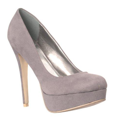 Diamond Womens Sweet Velvet Hidden Platform Pumps Grey srYKU