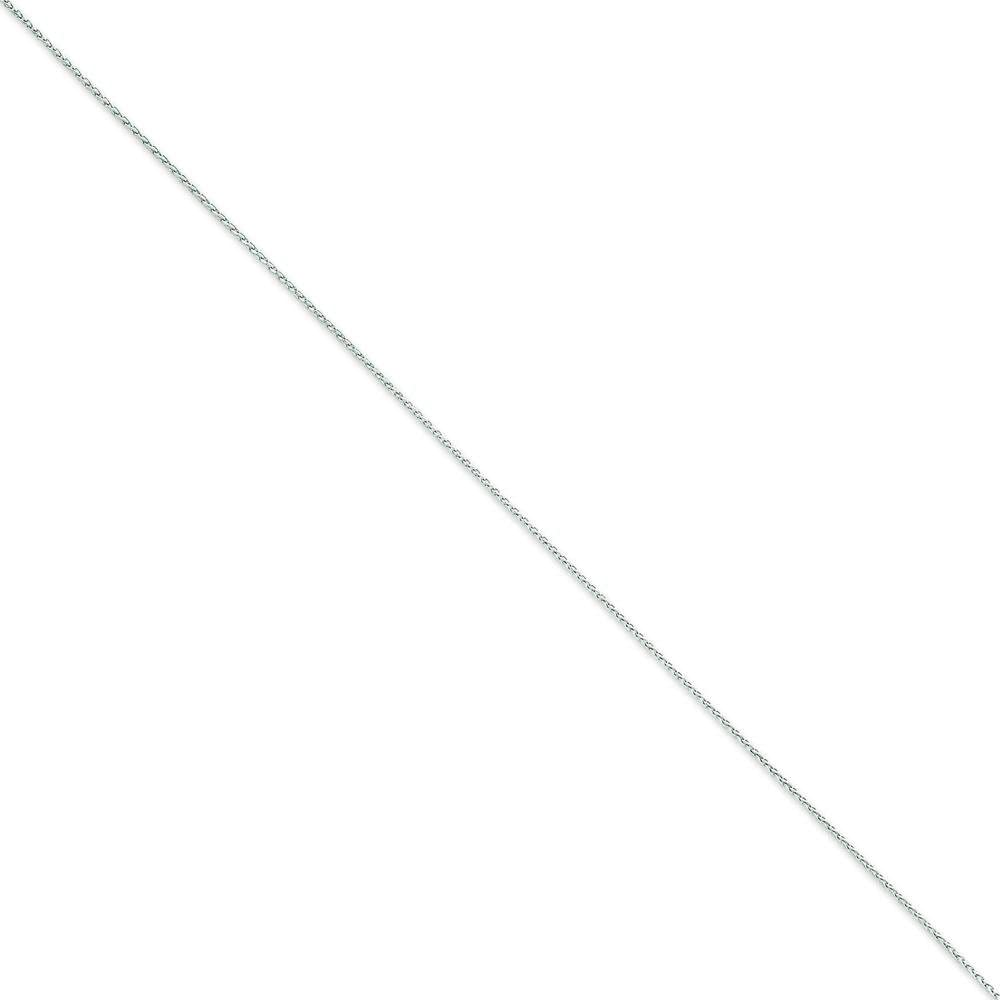 14K White Gold 1.2mm Round Diamond Cut Wheat Chain Anklet Jewelry 10