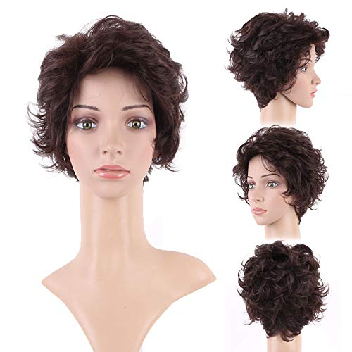 Short Dark Brown Wigs for Women Pixie Wavy Layered Full Hair Chaotic Beauty Heat Resistance Synthetic Wig for Anime Cosplay -