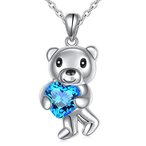 (Girlfriend Birthday Gifts 925 Sterling Silver Cute Animal Jewelry Blue Cubic Zirconia Love Heart Bear Pendant Necklace for Women Girls, 18