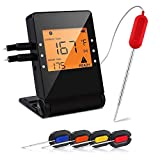 remote bbq thermometer iphone - Heesai 1 Meat, Bluetooth Grilling Cooking Food, Wireless Remote Digital Thermometer for Oven Kitchen Smoker BBQ, iPhone & Android Phone, 4 Probes