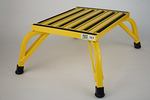Safety Step Aluminum Industrial Step Non-Slip 15″x19″ Platform 1000lb Capacity – Safety YELLOW – Self-leveling Anti-Tip Design, Will not Corrode – (10″ High)