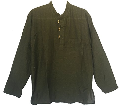Siddartha Mens Tunic Handloomed Cotton 3-Wooden Button Loop Closure, Mandarin Collar (Small/Medium, Green) -