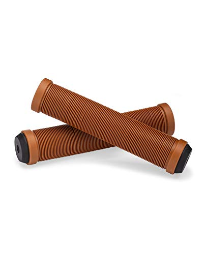 25NINE Ronin Grip Without Flange - Flangeless BMX Bike and Scooter Handlebar Grips with End Plugs - Brown