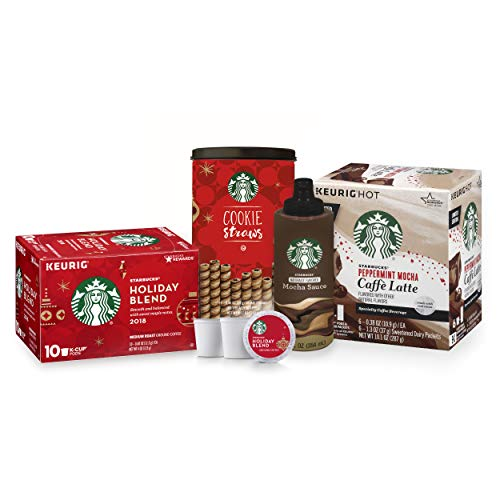 Starbucks Holiday Bundle—10 Holiday Blend and 6 Peppermint Mocha Latte K-Cup Pods, 20 Holiday Cookie Straws and 1 Bottle of Mocha Flavored Sauce
