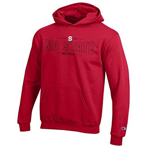 Champion NCAA Youth Long Sleeve Fleece Hoodie Boy's Collegiate Sweatshirt, North Carolina State Wolfpack, (Nc State Wolfpack Fleece)