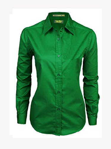 Tiger Hill Ladies 100% Cotton Premium Twill Shirt Long Sleeve Kelly Green Medium