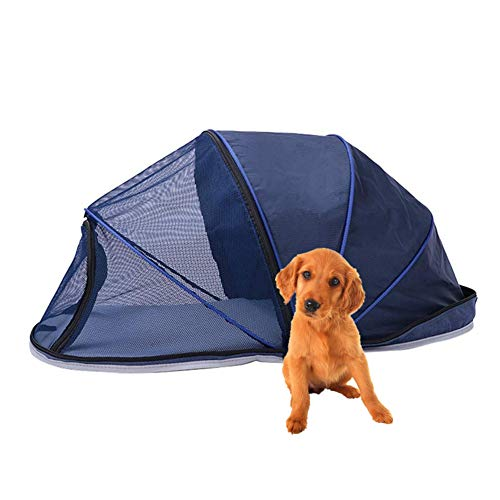 Hillwest Pet Dog Tent, Foldable Portable Outdoor Camping Domed Dog House, Comfortable Shelter Travel Pet Bed, Perfect Design for Your Dog Cat Rabbit (Blue, Half Sunshade) ()