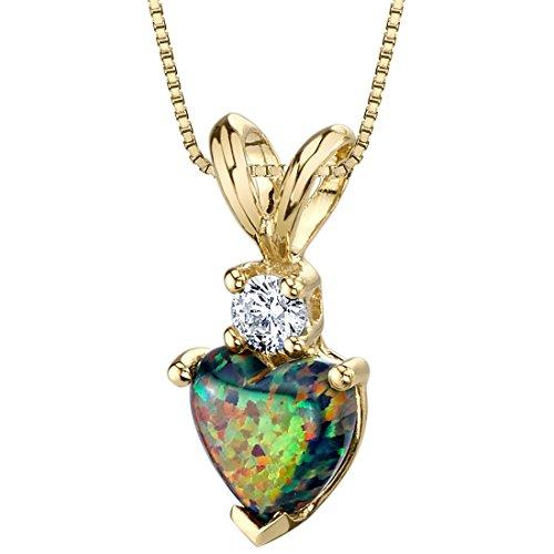 (14 Karat Yellow Gold Heart Shape Created Black Opal Diamond Pendant)