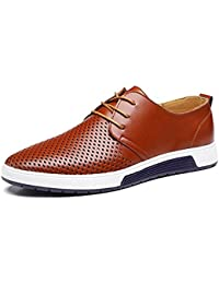 New 2018 Men Casual Shoes Leather Summer Breathable Holes Luxury Brand Flat Shoe