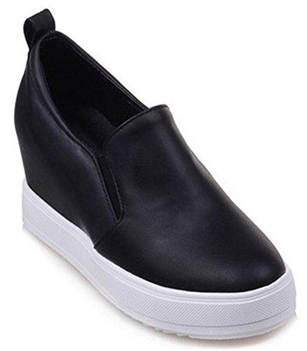 Trendy Heel Womens Closed On Round Platform Black Mid Slip Sneakers Loafers IDIFU Toe Wedge SwtxASd